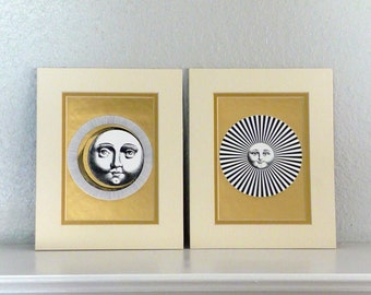 Pair of Vintage Sun and Moon Art Prints