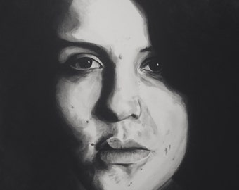 "Print ""Held Gaze IV"" by Amanda Wells, 2016. Original art on photo paper, Australian artist, portrait, monochrome art, women in art"