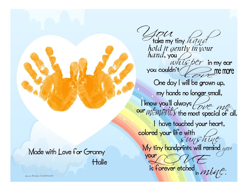 Grandchild Handprints Poem For Grandmother S 1st Christmas