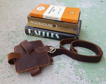Classic Brown Leather Book Strap