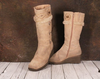 Womens beige suede boots Sioux Boots mid height women's boots Cowgirl suede boots Boots with fur Gift for Her Size: EU 38 / UK 5 / US 7.5