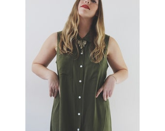 vtg 90's J.B.S. silk MOSS olive green MINIMALIST button down MAXI dress