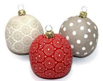 Christmas balls 3 set retro circles red cream ecru 6 cm unbreakable baubles sewn balls baubles Eisbaerchenmama