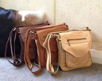 Natural Raw Light Tan Leather Cross Over Body Handbag