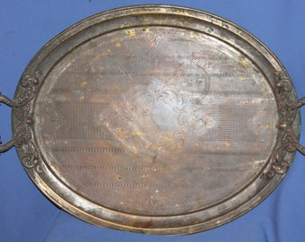 Antique Art Deco Large Ornate Bronze Engraved Serving Tray
