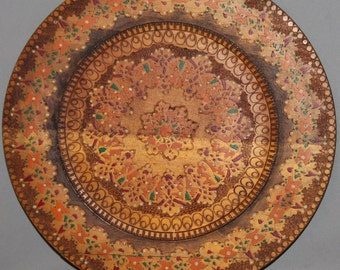 Vintage Hand Made Pyrography Wood Wall Decor Plate