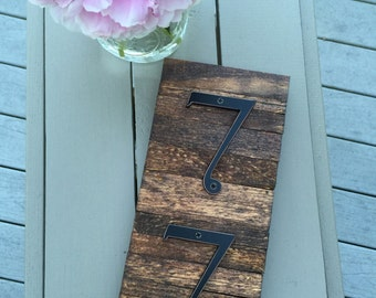 HOUSE NUMBERS stained rustic pallet wood