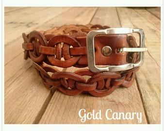 """Vintage 60s Brown Leather Circle Link Belt Boho Mod Folk M L 12 14 32""""-36"""""""