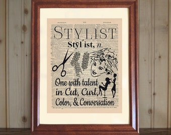 Stylist Print, Dictionary Print, Stylist Gift, Hair Salon Decor, Stylist Quote, Beautician Gift, Hairdresser Quote, Stylist Art, 5x7 or 8x10