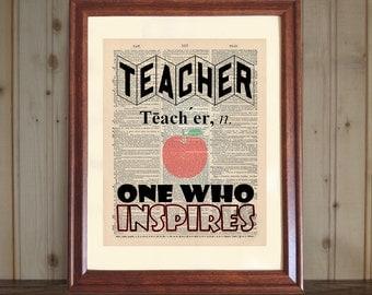 Teacher Dictionary Print, Teacher Quote, Teacher Gift, Classroom Decor, Teacher Print, Inspiring Teacher Quote on 5x7 or 8x10 canvas panel