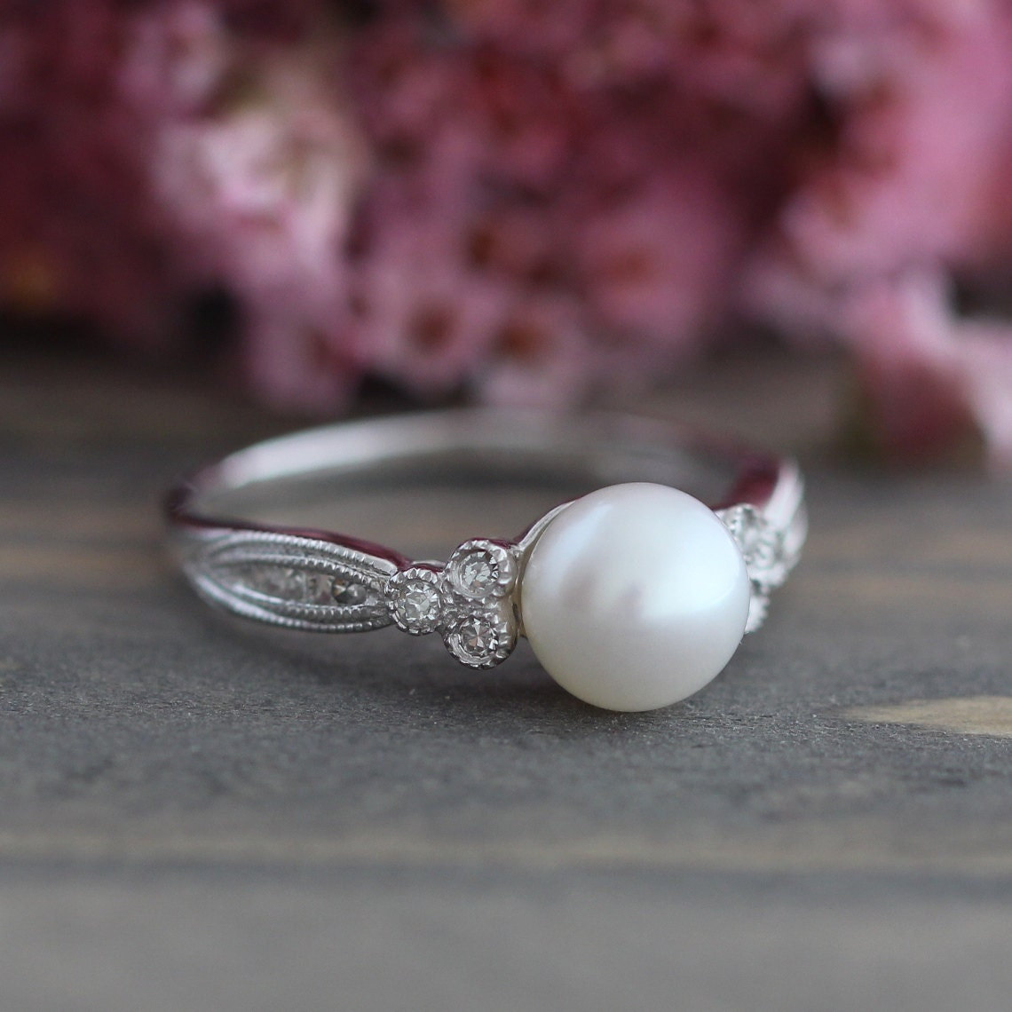 Pearl Wedding Ring: Vintage Inspired Pearl Engagement Ring In 10k White Gold 3