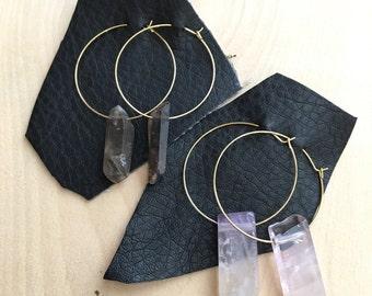 Crystal Earrings, Crystal Hoops