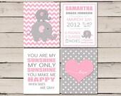 Elephant Nursery Wall Art, Personalized Birth Stats, You are my sunshine, Pink and Gray Decor, Printable Baby Girl Nursery Art, set 4 prints