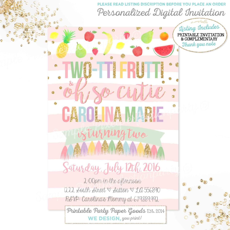 Tutti Frutti Birthday Invitation TWO-TTI FRUTTI Birthday