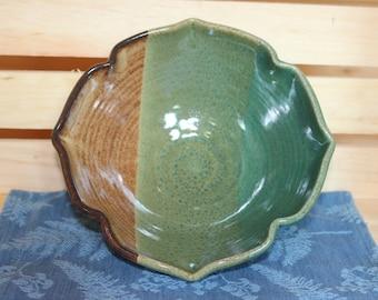 Pottery Multi Glazed Shaped Bowl