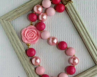 Briar Rose Bubblegum Necklace, Beauty Chunky Necklace, Briar Rose Toddler Necklace, Children's Necklace