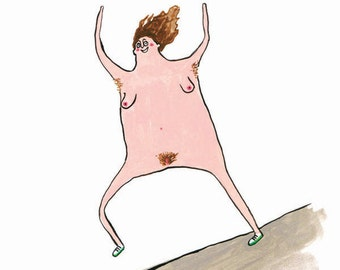 Funny lady greetings card humor naked cartoon
