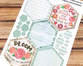 BLOOM Planner Stickers - Mint SPRING HEXAGONS - perfect for Inkwell Press Planner Mission Board! {160359}