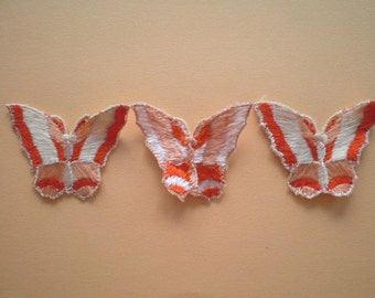 3 vintage Butterfly Appliques, embroidered applique - orange