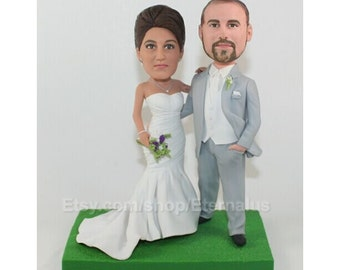 Custom Bobblehead - Bride & Groom Custom Wedding Cake Topper,  Bride and Groom Custom Handmade Wedding Cake Topper . wedding cake topper