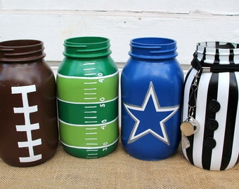 football mason jar set, dallas cowboys mason jars, superbowl party decor