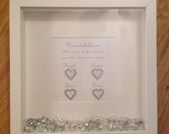 Grandchildren Diamanté  Hearts Print