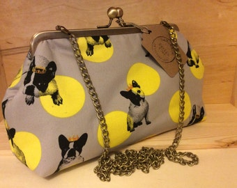 French Bulldog Princess - Large clutch purse with detachable shoulder chain
