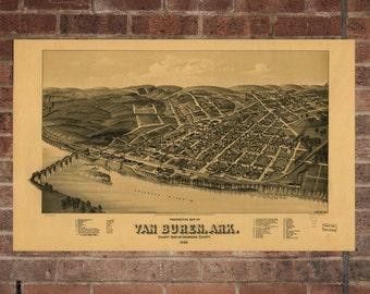 Vintage Van Buren Print, Aerial Van Buren Photo, Vintage Van Buren AR Pic, Old Van Buren Photo, Van Buren Arkansas Poster, 1888