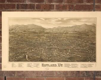 Vintage Rutland Print, Aerial Rutland Photo, Vintage Rutland VT Pic, Old Rutland Photo, Rutland Vermont Poster, 1885