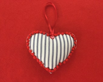 Padded Hearts, Navy Blue Ticking stripe fabric edged with pom pom trim, Red heart button, Red satin ribbon ideal Gift Christmas, Wedding