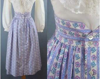 vintage 1970s floral high waist skirt | small | 70s blue striped skirt | pinup skirt | print summer skirt | swing skirt | rockabilly skirt