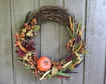 Fall wreath/ pumpkin wreath/