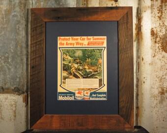 Vintage WW2 World War 2 Print Mobiloil Mobilgas Oil Ad Life Mag Poster framed in Reclaimed Rustic Wormy Chestnut Barnwood wwii World War II