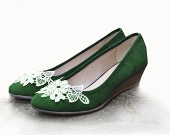 Wedding wedges emerald wedding wedge shoes emerald green lace wedges green shoes Wedding shoes Low heels blue shoes Lace shoes