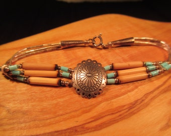 Tribal Sterling Silver Turquoise Bracelet