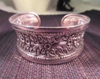 Ornate Vintage Sterling Silver Cuff Bracelet