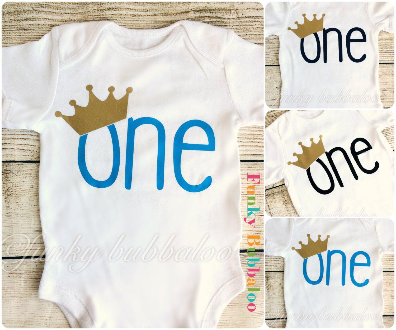First Birthday Boys Onesie Blue Navy Black Crown Bodysuit
