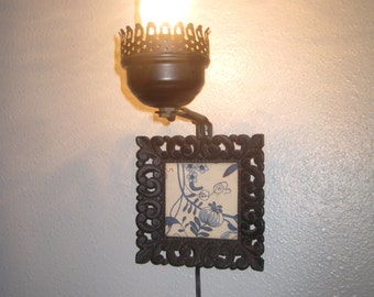 rare 40u0027s cast iron plug in wall sconce light with frame of blue onion fabric