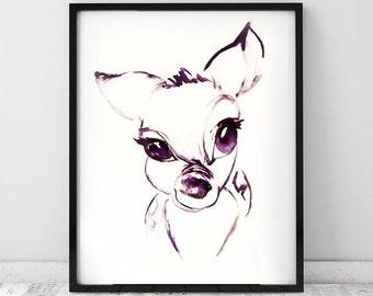 Deer print, watercolour print, animal art, nursery print