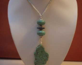 Necklace in Turquoise,Lampwork Crystal Beads,Silk Cord and Sterling Silver 925