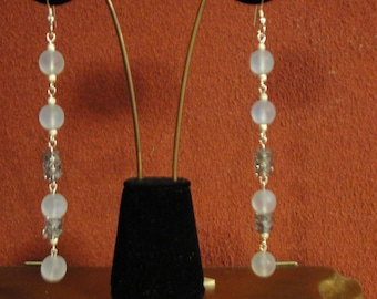 Long Dangle Earrings in Soft Grey/Clear Crystal and Sterling Silver (925)