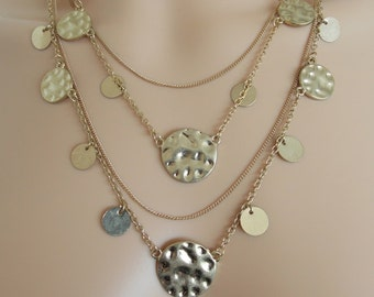 Multi-Layered Gold Disc Chain Necklace