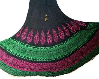 B Long maxi Skirt, Indian Bollywood Skirt, Gypsy Printed Skirt, Festival clothing, Boho Skirt, Long Flowy skirt, Maxi skirt
