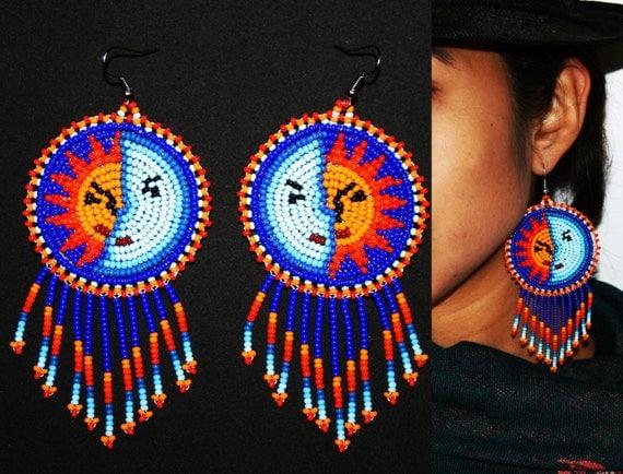 Native American Style Eclipse Earrings, Boho Sun Earrings, Native American Style Beaded Earrings, Huichol Beadwork, Huichol Earrings