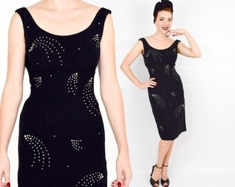 50s Black Crepe Party Dress   Rhinestone Starburst Wiggle Dress    Extra Small