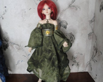 Dark Court: Forest Sprite Elven/Fairy Gown for Mini Super Dollfie, Kid Delf, Mini Fee, and similar sized BJD