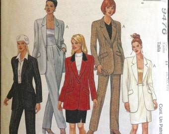 McCalls 9476 - Notched Collar Lined Jacket, Pants and Skirt Suit Set - Size 8 10