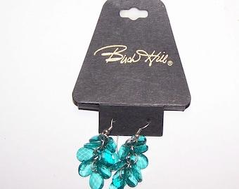 Teal Earrings / Cascading Cluster Drop Earrings / Vintage New Old Stock / Birch Hill