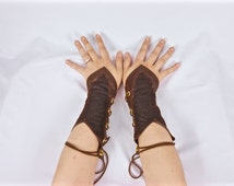 Woodland Elf Costume, Elf Cosplay, Gauntlets, Faux Leather Arm Cuffs with Lacing, Fantasy, Medieval, Renaissance, Wood Elven, Arm Bracers