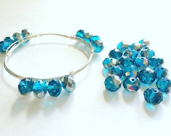 10mm Teal Silver Glass Crystals - Set of 12 Beads for Wire Bangle Bracelet - Faceted Beads for jewelry making